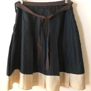 Gap Navy/Beige Pleated Silk Skirt Size 6